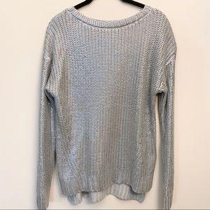 H&M Grey Metallic Crew Neck Sweater Size S